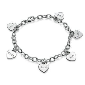 Bracelet charm coeur argent