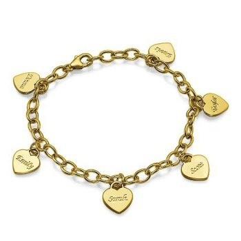 Bracelet charm coeur plaqué or