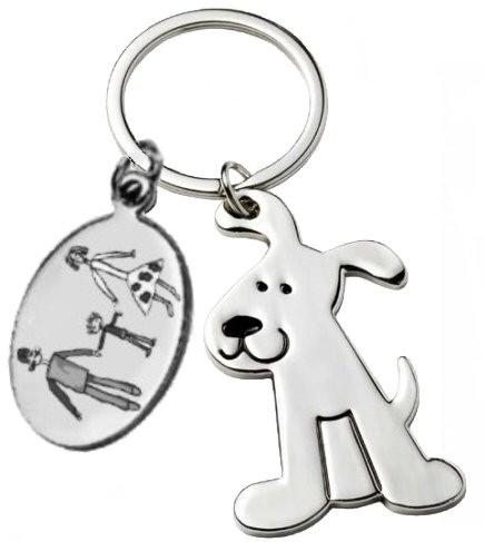Porte clés chien gravé avec un dessin enfant