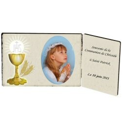 Plaque photo en bois communion.