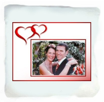 Coussin blanc photo coeurs