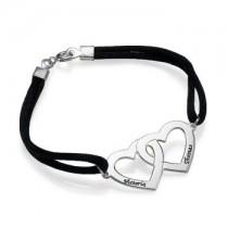Bracelet deux coeurs en argent