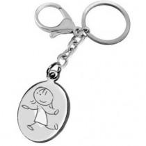 Gravure dessin sur porte clés fille en ballade