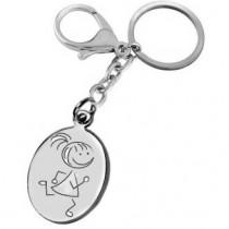 Gravure dessin sur porte clés fille qui courre