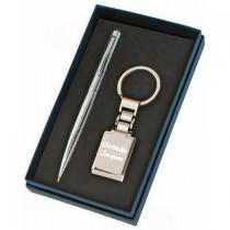 Porte clés et stylo bille dans son coffret