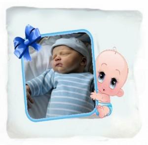 Coussin blanc photo bebe bleu