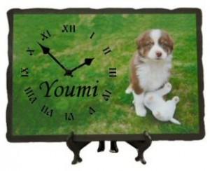 Horloge ardoise imprimée avec votre photo.