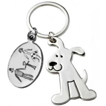 Porte clés gravé avec un dessin enfant avec chien