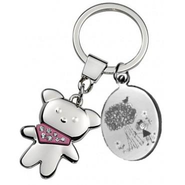 Porte clés gravé avec un dessin enfant avec ourson rose