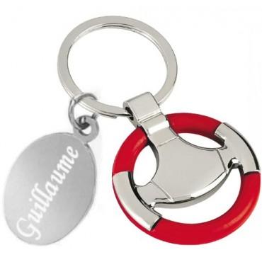 Gravure sur porte clefs volant rouge